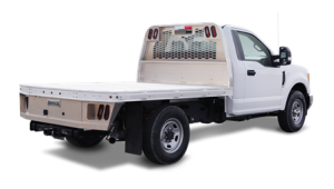 White truck with gooseneck body
